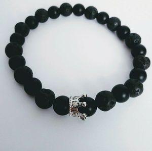 Silver Crown black beaded bracelet